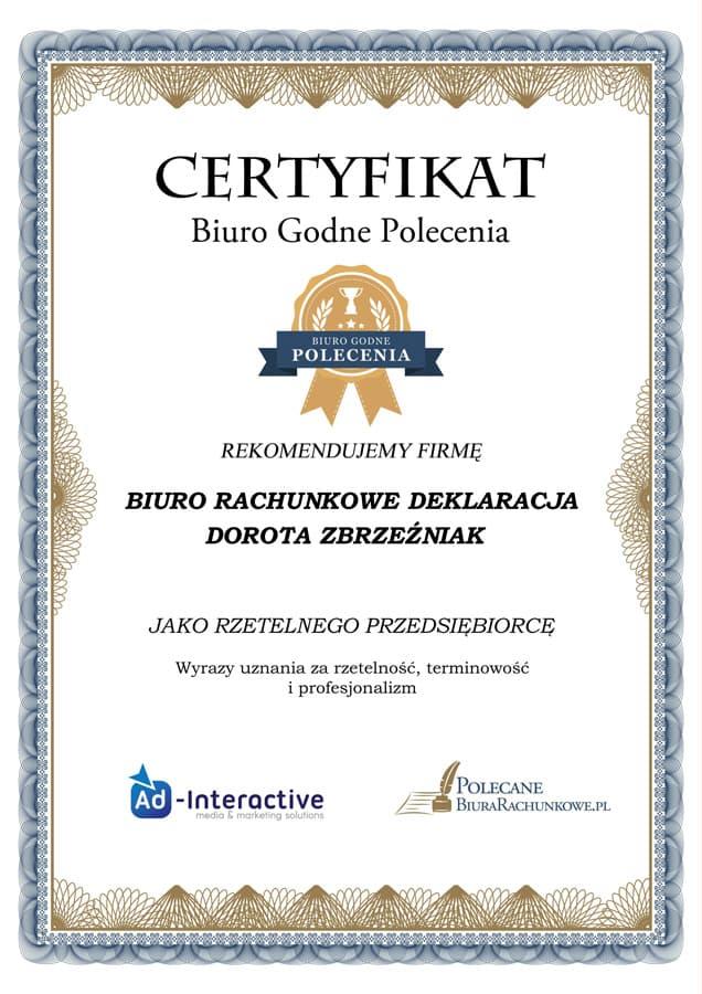biuro-rachunkowe-deklaracja-certyfikat-biuro-godne-polecenia-dorota-zbrzezniak-2017